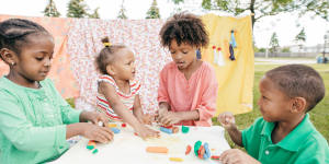 Children playing at a credentialed child care center in Virginia